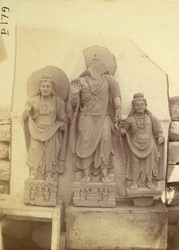 Group of statues of Buddhas and Bodhisattvas excavated at Lorian Tangai, Peshawar District.